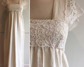 1970s Dominic Rompollo Ivory Cotton and Lace Dress, Boho Wedding Dress, Bohemian Ivory and White Point de Venise Lace Sleeves and Trim