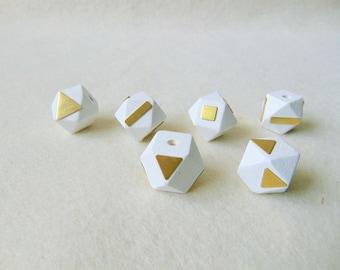 White Hexagon Wood Beads,