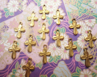 24 Brass 12mm Flower Style Flower Pattern Religious Crosses