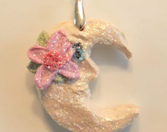 Crescent Moon Man in the Moon Floral Pendant