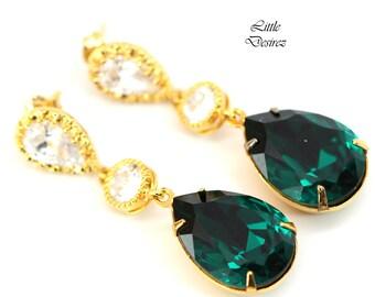 Emerald Green Earrings Gold & Green Earrings Swarovski Crystal Teardrop Bridesmaid Earrings Holiday Jewelry Gift Dark Green Earrings EM31PC