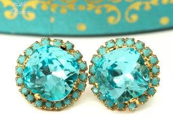 Stud Earrings Turquoise Earrings Blue Earrings Bridal Earrings Teal Earrings Gift for Her Matron of Honor Gift Jewelry Ideas for Me TQ50S