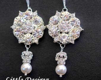 Crystal Bridal Earrings Rhinestone Earrings Wedding Earrings Pearl Earrings Vintage Style Jewelry Statement Earrings Crystal Flower AMELIA