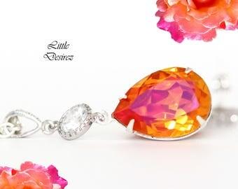 Orange Pink Necklace Astral Pink Swarovski Necklace Coral Orange Fuchsia Magenta Necklace Sparkly Bridesmaid Necklace Bridal Necklace AP31N