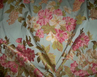 DESIGNER FRENCH COUNTRY Springtime Floral Bouquets Woven Damask Fabric 10 Yards Aqua Rose Pink Green Multi