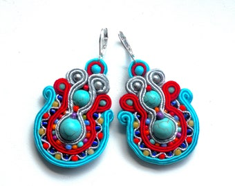 Earrings-Soutache-Hand Embroidered - Mexico