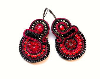 Earrings-soutache earrings-boho-soutache-ethnic-OOAK Moulin Rouge