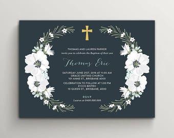 Printable Boy Baptism Invitation \ Christening or Holy Communion Invite (CH77)