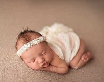 Belinda Pearl Headband, Newborn Photo Prop, Pearl Newborn Headband, Ivory Beaded Headband