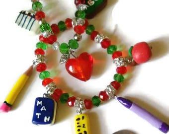 Back To School Themed Charm Bracelets, School Charms, Polymer clay charms, Teacher Gift, Teacher Charm Bracelet, gift ideas
