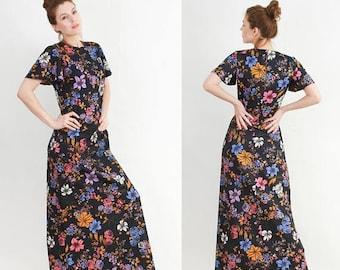 SALE Crimplene dress, 70s dress, Maxi long dress, Extra long, Boho dress, Gypsy Dress, Hippy dress, Vintage Maxi Dress, Floral Dress