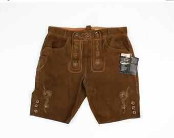 SALE Man Suede Shorts / Landhaus Shorts / Man Trachten Shorts / Man Dirndl Shorts / Size 54 Shorts /  Folk Shorts / Embroidered Shorts