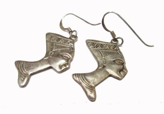 Sterling Earrings - Egyptian Pharaoh - double side head dress - dangle  pierced earring -Egyptian Revival