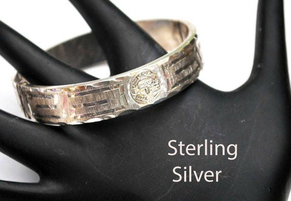 Sterling  Bracelet - Mexico - Hinge Bangle - Silver etched Hammer design - safety chain - A 925 N