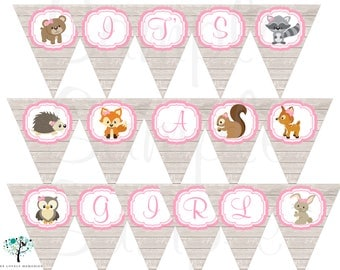 Woodland Friends animals Baby Banner or Birthday Banner - Printable File