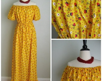 Summer Clearout 1970's Yellow Cotton Floral Maxi Dress// Ruffled// off the Shoulder