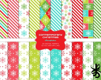 Contemporary Christmas-Snowflakes-Commercial Use-Digital Papers-Holiday-Stripes-Red-Blue-Pink-Winter-JPG-Digital Scrapbook-Instant Download