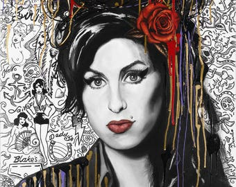 "Amy Winehouse-Remix, 11""x14"" Tribute Fan Art,  Fine Art Print, Wall Art"