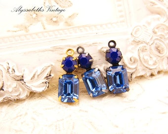 Vintage Sapphire Sapphire & Navy Blue Swarovski Rhinestone Set Stone Drop or Connector 16x6mm Choice of Setting Finish - 2