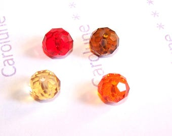 4 faceted 10 mm Orange glass for Feng Shui colors pendant