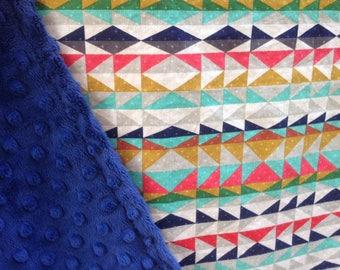 Modern minky baby blanket - geometric, tribal, desert, bright, navy blue - ready to ship