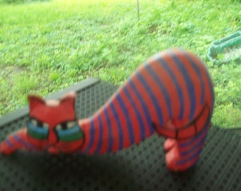 Painted Wooden Cat Figure