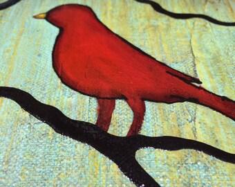 Happy Bird Says Good Morning Original Art By Rafi Perez On Canvas 10X10