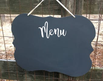 Grey Chalkboard with Menu Hand-painted on it