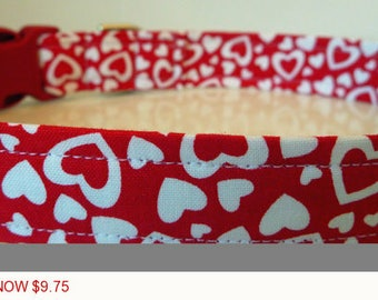 "Sale - 50% Off - Valentine Dog Collar - Red with Red & White Hearts -""Red Hot Love"" - Free Colored Buckles"