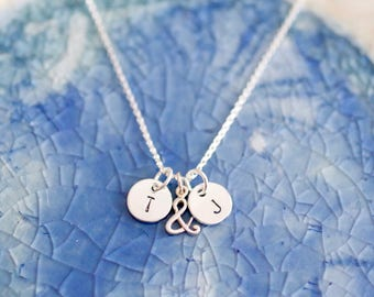 Loves Necklace - Initial Necklace In Sterling Silver- Ampersand Symbol - My Loves Necklaces - Engagement Gift - Gift For Her - Bridal Gift