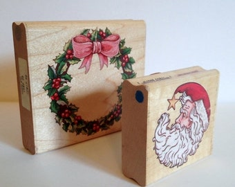 Save 15% OFF 2 Christmas Rubber Stamps Large Holly Wreath & Santa Head From Rubber Stampede Wood Mounted Holiday Scrapbooking Card Making Gi