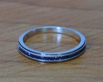 DEADsy LAST GASP SALE Blue Diamond in White Gold Channel Set Band // Vintage Wedding Ring //  Black Diamond // Unisex Diamond Wedding Band