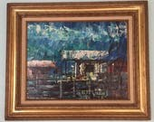 Original Charles Radoff painting, oil or acrylic, Neo-impressionist painter/gallery owner, framed, nautical, collectible, mid century