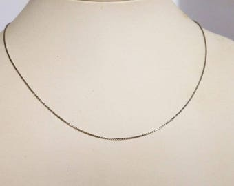 vintage Sterling Book Chain Link Necklace   16 Inch Chain  Skinny Necklace