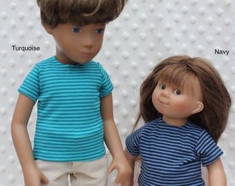 "Striped T-shirts for 16/17"" Sasha/Gregor, Sasha Baby and Toddler or Muller Wichtel 30/32cm"