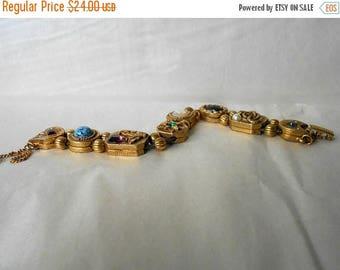 CIJ SALE Vintage Goldette Double Chain Slide Bracelet Victorian Revival Style MmV