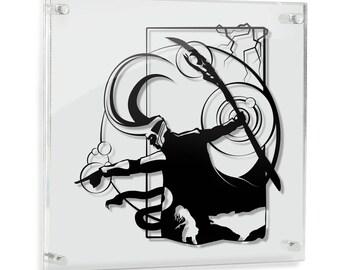 Loki and children hand cut paper art wall artwork silhouette comic book illustration