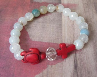 Red Sea Turtle Stretch Bracelet with Red Cross & Beachy Agate Beads
