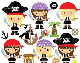 ON SALE INSTANT Download. Cp_74_Pirates. Pirates girls clip art. Personal and commercial use.