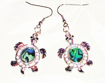 Abalone & Crystal Turtle Earrings Totem in Sterling Silver Spirit Animal Talisman Handmade Jewellery by NorthCoastCottage Jewelry Design and