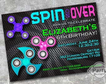 Fidget Spinner Birthday Invitation Girl Party Invite Printable Personalized 4 x 6 or 5 x 7