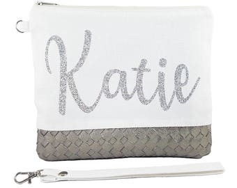 Ivory Bag ( Silver Glitter Name ) - Personalised Bride Gift - Maid of Honour Gift- Bridesmaid Gift -Unique Gift for Bridal Party Wedding Bag