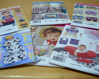 FREE SHIPPING! Everything for baby sewing pattern bundle Lot of 6 UNCUT
