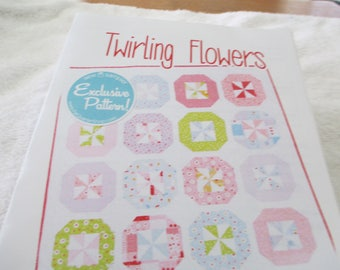 """Paper Pattern for a quilt called Twirling Flowers by the Fat Quarter Shop 39"""" x 48"""""""
