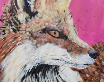 9x12, 18x24, 38x50 Fine Art Giclee Print of Original painting of Fox by artist Natalie Jo Wright, contemporary art, wildlife art, hot pink