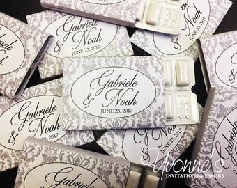 Wedding Gum Favors - Custom Gum Wrappers/Gum Party Favors - Silver / Gray Damask