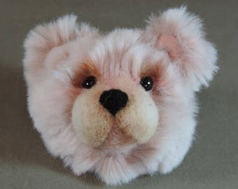 Pin/Brooch Artist Teddy Bear head, pink, OOAK Tissavel faux fur and needle felted face
