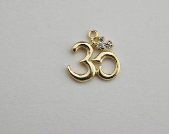 CZ  OHM pendant - Gold vermeil OHM - gold vermeil pendant -