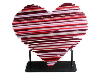 Patchwork Heart Fused Glass Art Sculpture FB615 Wedding Gift / Anniversary Gift / Valentine's Day Gift