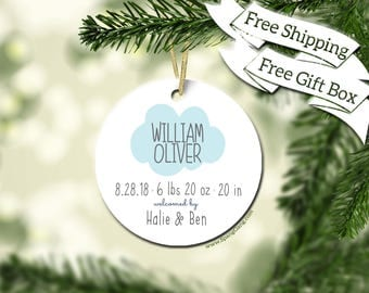 Baby Stats Ornament | Baby's First Christmas Ornament | Ornament Baby Stats | Personalized Baby Stats Ornament | Christmas Ornament | Cloud